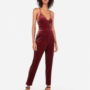 Express V-Neck Cami Velvet Jumpsuit
